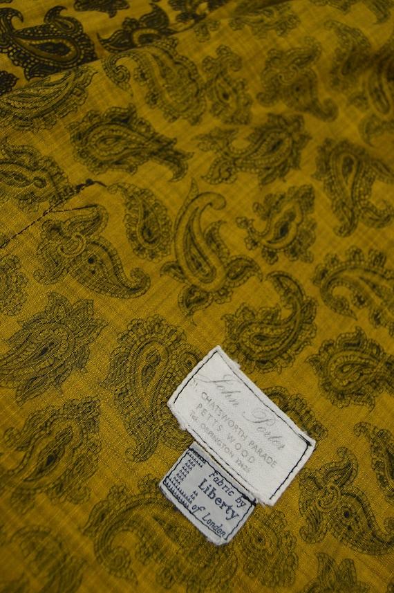 Mens Gold Paisley Print Cotton 60s Smoking Jacket… - image 8
