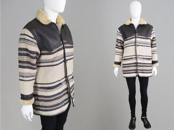 80s Mens Shearling Coat Woven Tapestry Coat  Shear