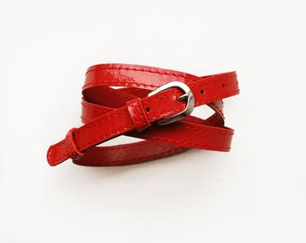 a4d5b6a6e43c Red color patent leather belt for women, Red leather belt, Narrow belt, ALL  SIZES