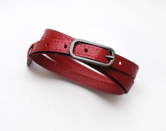 Red color belt for women, Red leather belt, Narrow belt, ALL SIZES