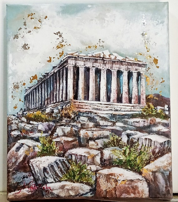 The Acropolisacrylic Painting On Canvasoriginal Ancient Etsy