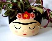Viva La Frida Hanging Planter Plant Pot Flower Pot Face Pot - 12cm