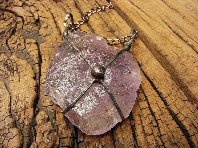 Raw Druzy huge Amethyst necklace Ice Crystal pendant Quartz huge rustic retro talisman energetic stone by GepArtJewellery.FREE SHIPPING!