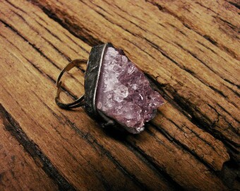 RAW purple Amethyst purple natural crystal adjustable ring tiffany technique return to nature ideal gift by GepArtJewellery.FREE SHIPPING!
