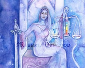 Tarot Justice Limited Edition Art Print / featured in 'Crystal Power Tarot' by Jayne Wallace, Psychic Sisters