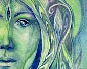 Shamanic Plant Spirit Art Print /  Medicine woman Art / Herbalist Gift