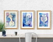 Air Element Zodiac Goddess Print Set