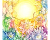 Tarot The Sun Limited Edition A3 Art Print / featured in 'Crystal Power Tarot' by Jayne Wallace, Psychic Sisters