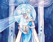 High Priestess Limited Edition A3 Art Print / featured in 'Crystal Power Tarot' by Jayne Wallace, Psychic Sisters