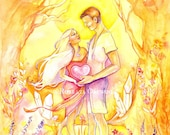 The Lovers Limited Edition A3 Art Print / featured in 'Crystal Power Tarot' by Jayne Wallace, Psychic Sisters
