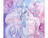 Tarot The Hierophant Limited Edition A3 Art Print / featured in 'Crystal Power Tarot' by Jayne Wallace, Psychic Sisters