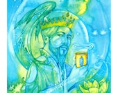 Tarot King of Cups Limited Edition Art Print / featured in 'Crystal Power Tarot' by Jayne Wallace, Psychic Sisters