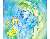 Tarot Queen of Cups Limited Edition Art Print / featured in 'Crystal Power Tarot' by Jayne Wallace, Psychic Sisters