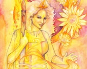 Tarot Queen of Wands Limited Edition Art Print / featured in 'Crystal Power Tarot' by Jayne Wallace, Psychic Sisters