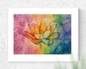 Rainbow Chakra Lotus Flower Art Print - A4
