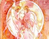 Aries Zodiac Goddess Art Print / A4