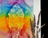 Rainbow Chakra Goddess Art Print / Featured in 'The Ultimate Guide to Chakras' book by Sage Goddess