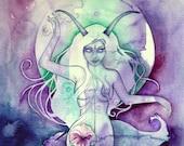 Capricorn Zodiac Goddess Art Print
