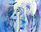 Aquarius Zodiac Goddess Art Print