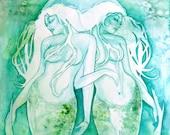 Pisces Zodiac Goddess Art Print