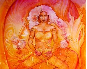 Shamanic Chakra Goddess Art / Sacred Sacral Chakra / A3