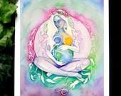 Earth Star Chakra Gaia Goddess Art Print / A4