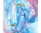 Tarot King of Swords Limited Edition Art Print / featured in 'Crystal Power Tarot' by Jayne Wallace, Psychic Sisters
