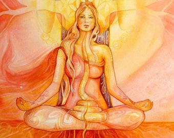 Shamanic Chakra Goddess Art / Sacred Red Root Chakra / A3
