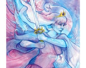 Tarot Queen of Swords Limited Edition Art Print / featured in 'Crystal Power Tarot' by Jayne Wallace, Psychic Sisters