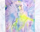Angel Watercolor Art Print - A4