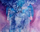 Shamanic Chakra Goddess Art / Sacred Third Eye Chakra