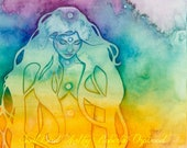 Rainbow Chakra Goddess Art A4 Print / Featured in 'The Ultimate Guide to Chakras' book by Sage Goddess