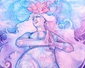 Shamanic Chakra Goddess Art / Sacred Crown Chakra