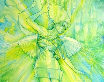 Shamanic Chakra Goddess Art / Sacred Heart Chakra / A3