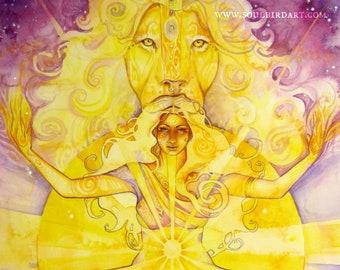Shamanic Chakra Goddess Art / Sacred Solar Plexus Chakra / A3