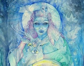 Winter Solstice Light Bringer Goddess Art Large Print