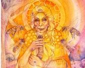 Honey Bee Priestess Shamanic Medicine Art Print - A3