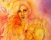 Butterfly Goddess Light Seeker Art Print