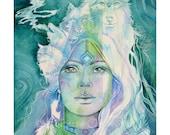 Wolf Goddess Shamanic Art Print