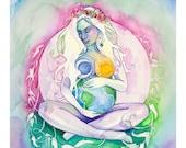 Earth Star Chakra Gaia Goddess Art Print