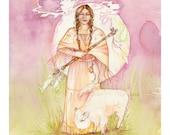 White Buffalo Calf Woman Art Print / A3