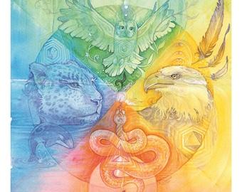 Shamanic Spirit Animals Art Print / A3