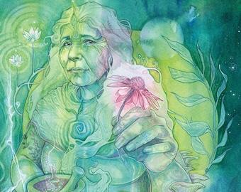 Herbalist Medicine Woman Art Print / A4