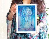 Shamanic Chakra Goddess Art / Sacred Throat Chakra