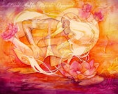 Twin Flame, Watercolor Print, The Lovers, Soul Mate, Fine Art Print by Roberta Orpwood, The Soul Lover Collection