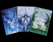 Winter Spirit Animal Greeting Card Set of 3