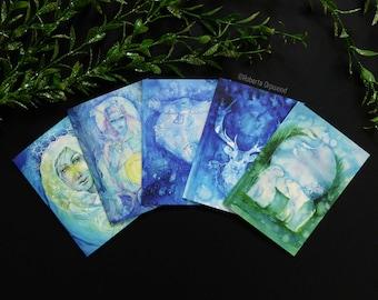 Winter Yule Greeting Card Set of 5