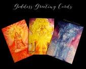 Shamanic Chakra Goddess Greeting Card Set of 3