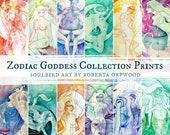 Zodiac Goddess Art Prints / A3