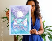 Tarot The Moon Limited Edition A3 Art Print / featured in 'Crystal Power Tarot' by Jayne Wallace, Psychic Sisters